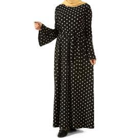 فستان اسود منقط