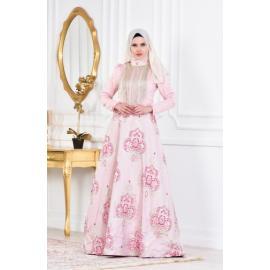 فستان الحفلات للمحجبات زهري