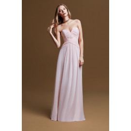 فستان وردي طويل من الشيفون الوردي