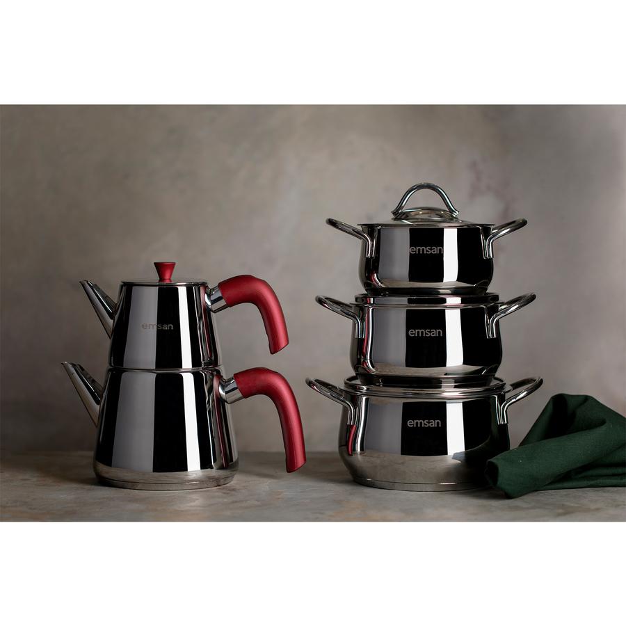 مجموعه ادوات الطهي من امسان مع هديه ابريق الشاي التقليدي