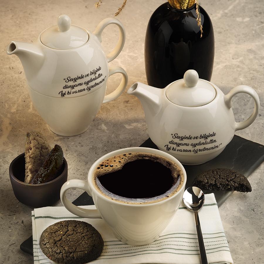 مجموعه من كوتاهيا التركية 3 قطع شاي مع شعار عيد المعلم